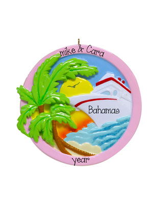 Cruise Ship w/ palm tree and sunset Ornament
