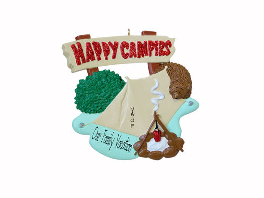 camping in a tent, HAPPY CAMPERS - my personalized ornaments