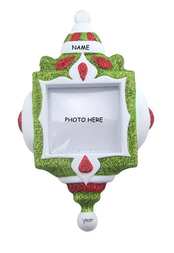 PHOTO FRAME Ornament w/ RED & GREEN GLITTER