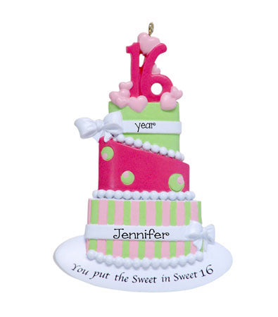 SWEET 16 PINK BIRTHDAY CAKE Ornament