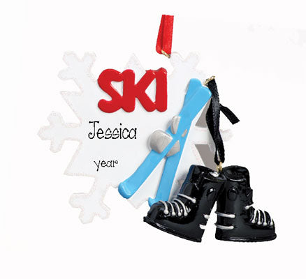 SNOW SKIING WITH SKIS AND BOOTS CHRISTMAS ORNAMENT, MY PERSONALIZED ORNAMENTS