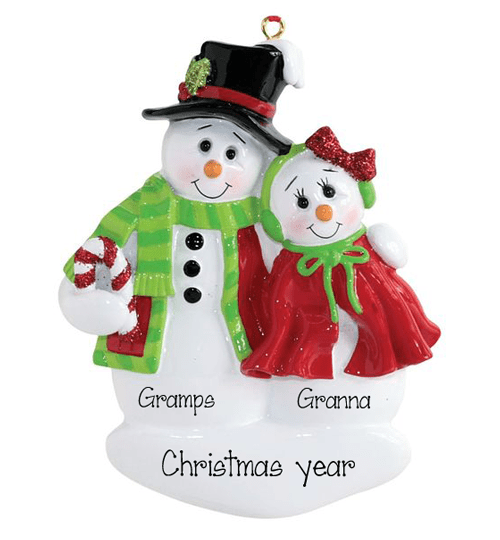 Grandma and Grandpa Snowman couple~Personalized Christmas Ornament