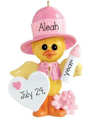 Baby girl DUCK Dressed in Pink~Personalized Christmas Ornament