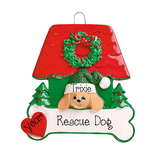 Tan Dog  in a Red and Green Dog House~Personalized Christmas Ornament