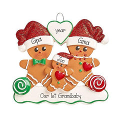 GINGERBREAD~FAMILY OF 3~pROUD NEW gRANDPARENTS~Personalized Christmas Ornament