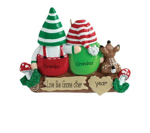 Grandma and Grandpa GNOME sitting on a Log~Personalized Christmas Ornament