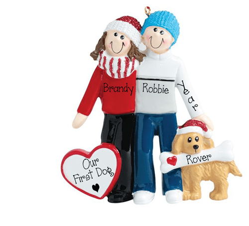 Couple and their Dog~Personalized Christmas Ornament