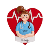 Female Nurse in Blue Scrubs in front of  a Red Heart ~personalized Christmas  ornament