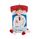 Male Pharmacist with Pills and Bottle~Personalized Christmas Ornament