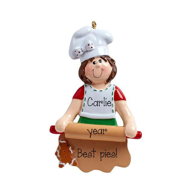 Pastry chef with a rolling pin rolling out dough ~Personalized Christmas Ornament