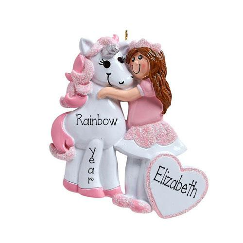 little girl with brunette hair...Me and My UNICORN-Personalized Christmas Ornament