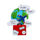 Travel around the world with an airplane, suitcase and the globe- Personalized Ornament