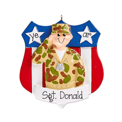 Army Soldier in uniform~Personalized Christmas Ornament