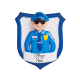 Male police officer dressed in uniform~Personalized Christmas Ornament