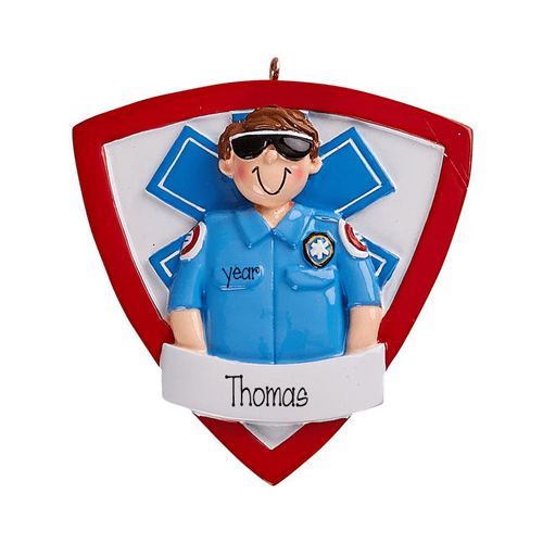 Male Paramedic~Personalized Christmas Ornament
