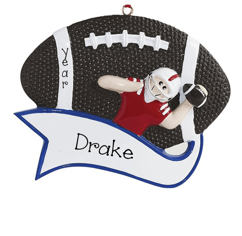 Football Player Passing a Football-Personalized Ornament