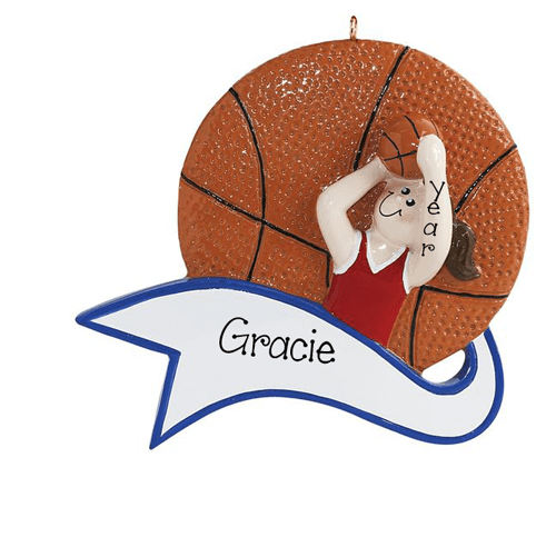 Girl Shooting a Basketball~Personalized Christmas Ornament