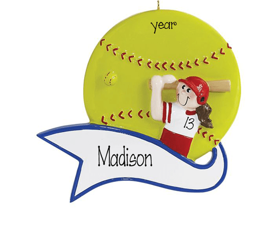 Female Softball Player ~ Personalized Christmas Ornament