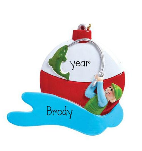 a fisherman catching the big one ~FISHING~Personalized Christmas Ornament
