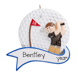 Brunette male Golfer ~ Personalized Christmas Ornament