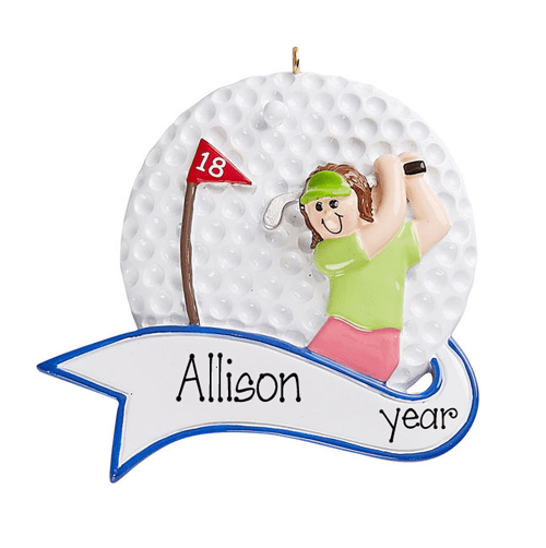 Woman Golfer~Personalized Christmas Ornament