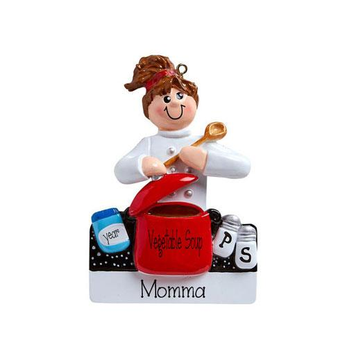 mom cooking at the stove~Personalized Christmas Ornament