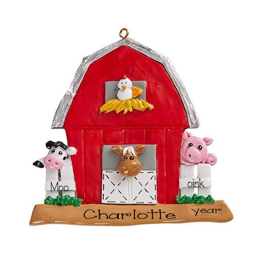 RED BARN with Farm Animals~Personalized Christmas Ornament