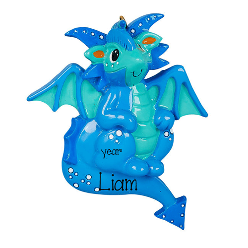 Blue DRAGON - Personalized Christmas Ornament