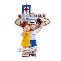Couple vacationing in Las Vegas~Personalized Christmas Ornament