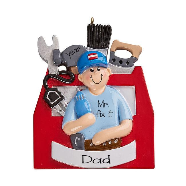 Mr. Fix it with Tools box and tools ~Personalized Christmas Ornament
