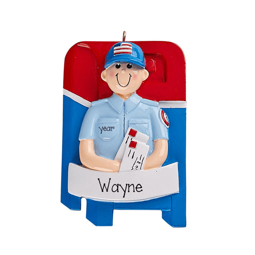 MAILMAN in front of MAILBOX~Personalized Christmas Ornament