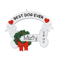 Best Dog Ever with a Bone and Red bow ~ Personalized Christmas Ornament