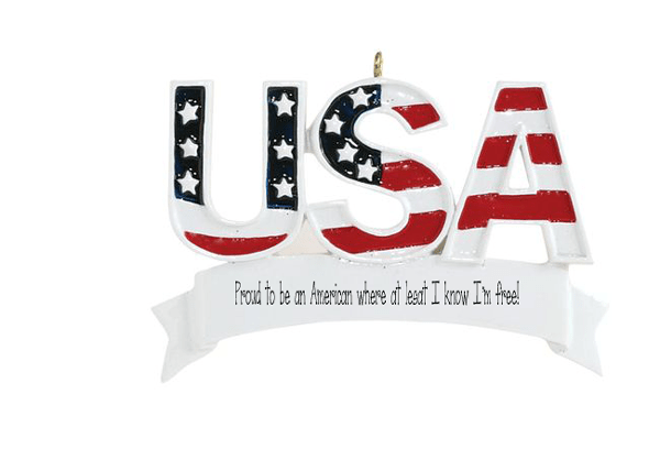 USA~AMERICAN FLAG~Personalized Christmas Ornament