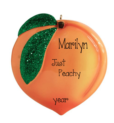 Orange Peach with Green Glitter leaves - personalized Christmas ornament