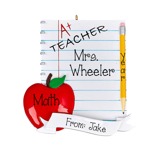 A+ Teacher with and Apple~Personalized Christmas Ornament