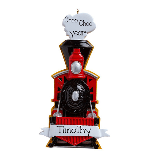 Black and Red TRAIN - Personalized Christmas Ornament