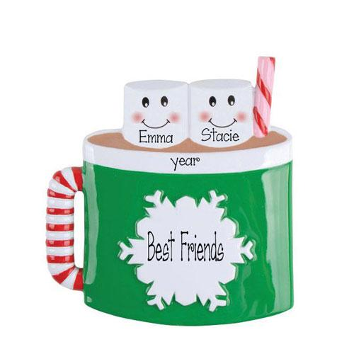 BEST FRIENDS Hot Chocolate Mug for 2~Personalized Christmas Ornament