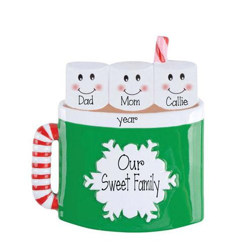 HOT CHOCOLATE Family with 3 Marshmallows~Personalized Christmas Ornament