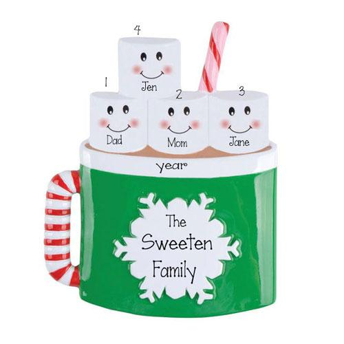 HOT CHOCOLATE Family with 4 Marshmallows~Personalized Christmas Ornament