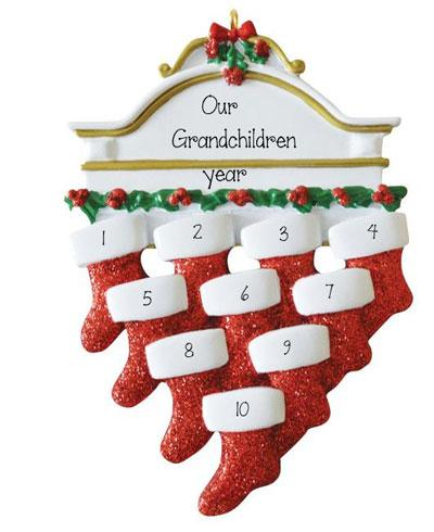 GRANDKIDS~Mantel with 10 Stockings~Personalized Christmas Ornament