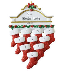 FAMILY~Mantel With 10 Stockings~Personalized Christmas Ornament
