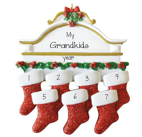 GRANDKIDS~Mantel with 7 Stockings~Personalized Ornament