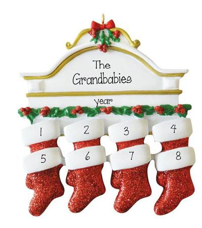 GRANDKIDS-Mantel with 8 Stockings~Personalized Christmas Ornament