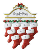 GRANDKIDS-Mantel with 9 Stockings~Personalized Christmas Ornament