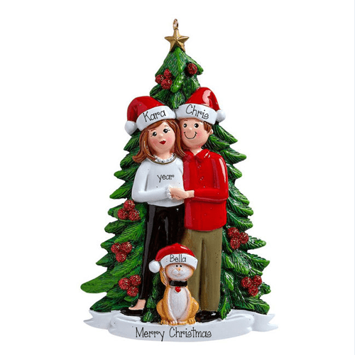 Couple and their Kitty Cat~Personalized Christmas Ornament