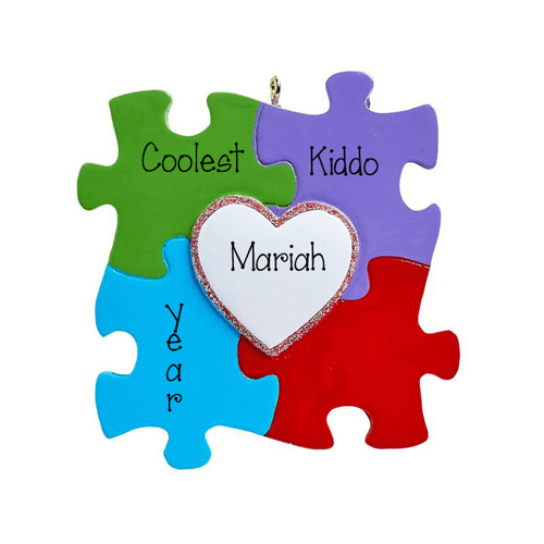 Colorful puzzle pieces symbol for Autism-Personalized Ornament