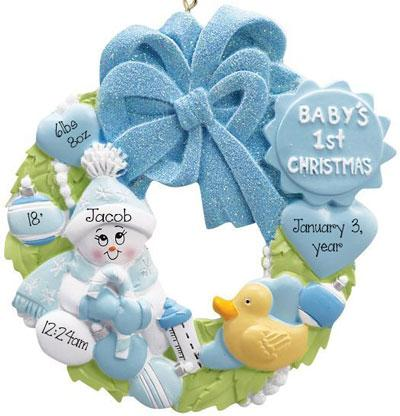 Baby Boy Wreath - Baby's 1st Christmas Ornament