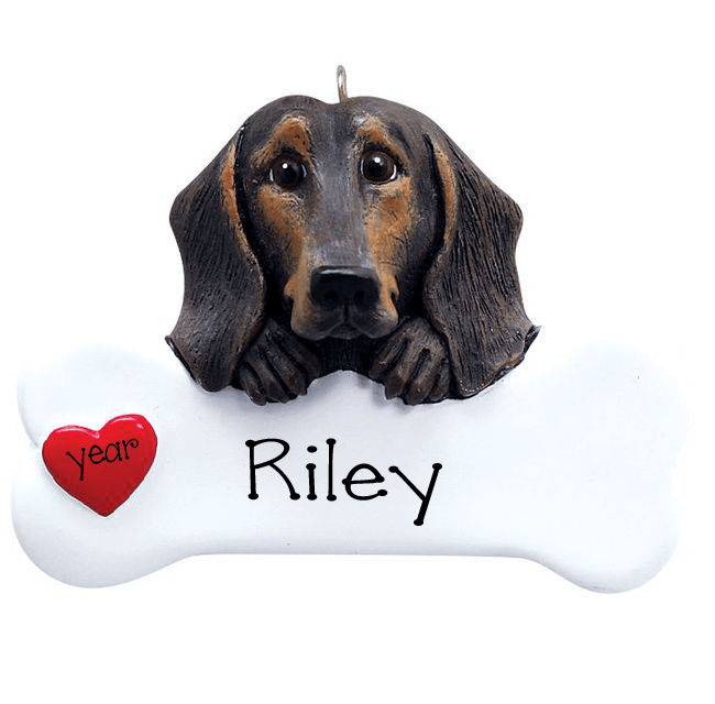 Black and Brown Dachshund with a bone ~ Personalized Christmas Ornament