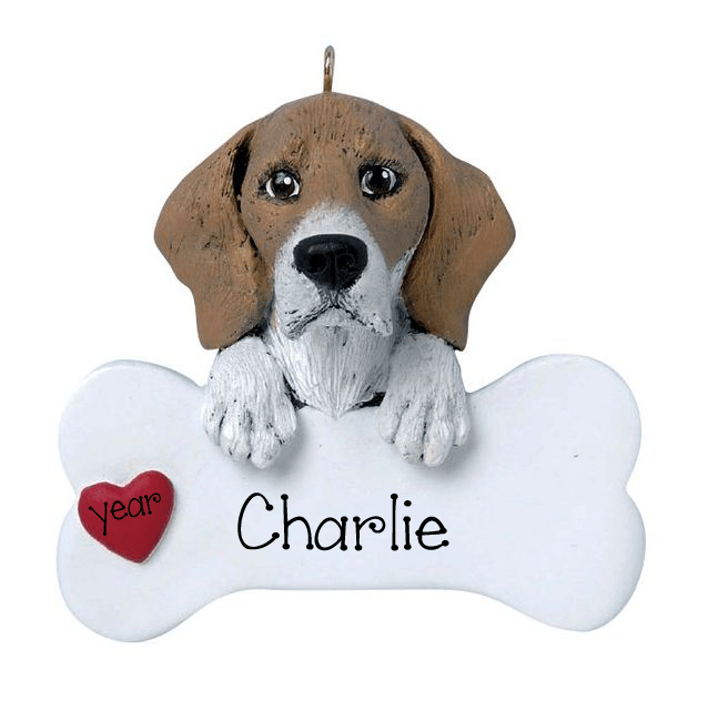 BEAGLE with a bone ~ Personalized Christmas Ornament