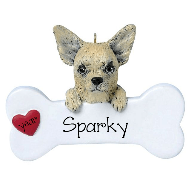 Tan CHIHUAHUA with a bone ~ Personalized Christmas Ornament